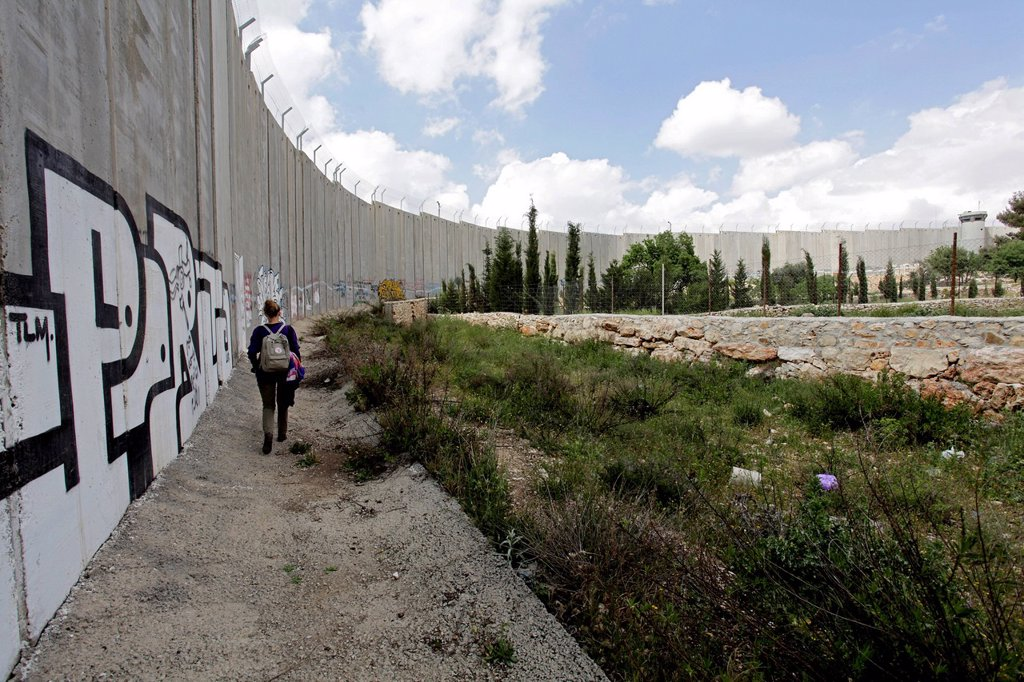 Stock Photo: 1848-631791 Wall with graffiti, Palestinian side, between Bethlehem, West Bank and Jerusalem, Israel, Middle East
