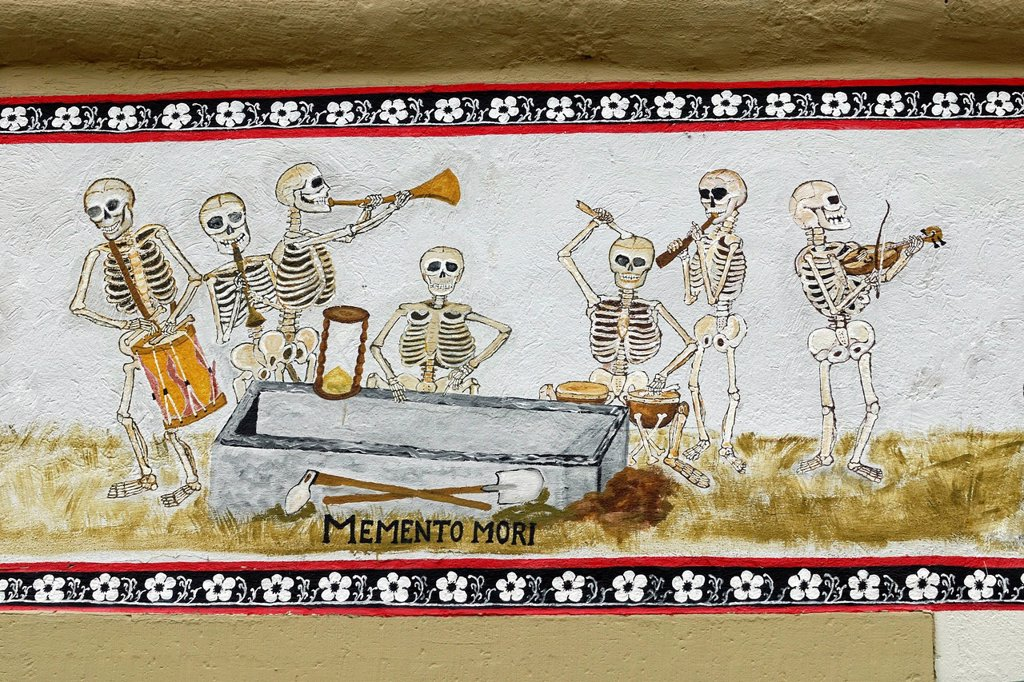 Stock Photo: 1848-631884 Danse Macabre or Dance of Death motif on an old half_timbered house, Eppingen, Baden_Wuerttemberg, Germany, Europe