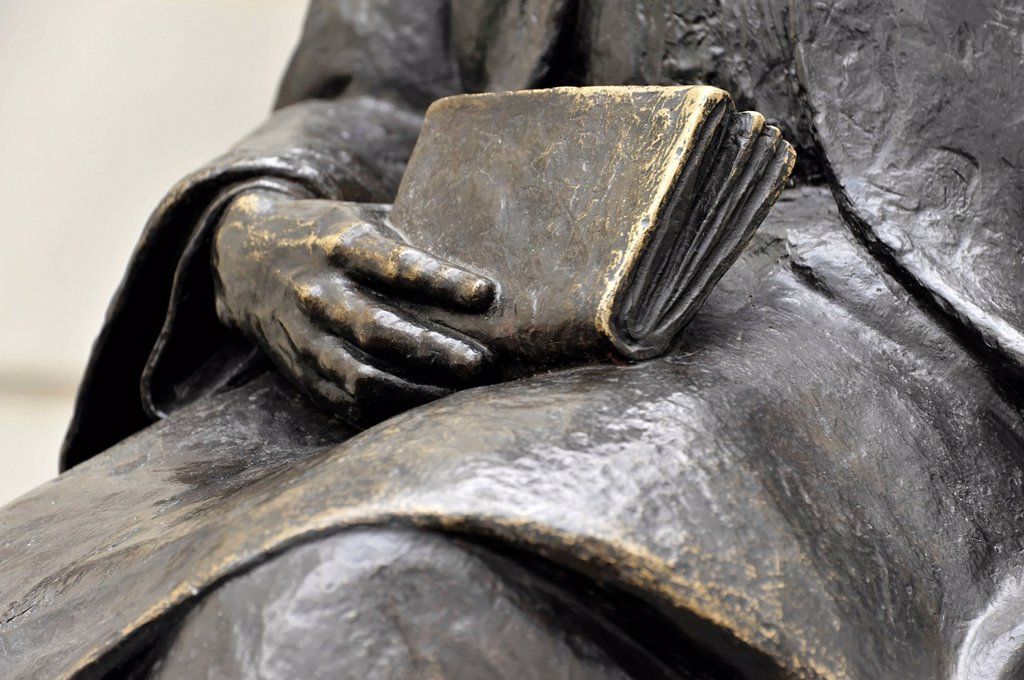 Stock Photo: 1848-631957 Detailed view of the book and the hand, bronze statue of Adam Riese, Cordoba, Andalusia, Spain, Europe