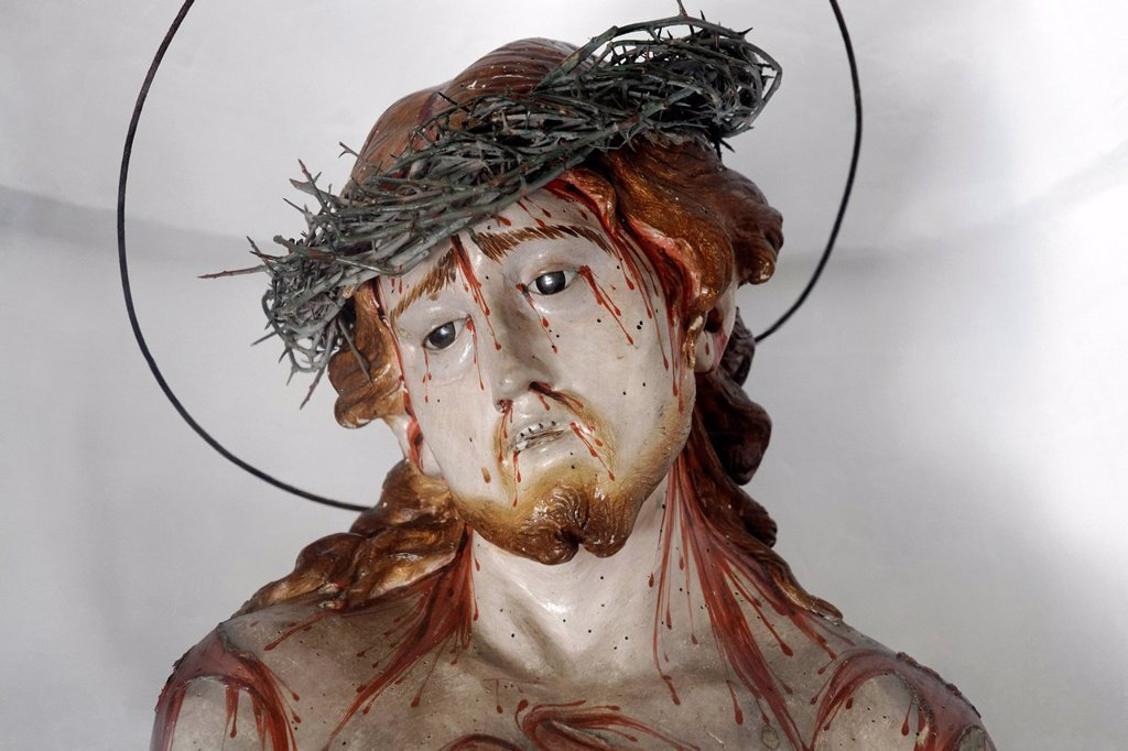 Statue of Christ with a crown of thorns and stigmata, pilgrimage church of Santa Maria del Soccorso, Forio, Ischia Island, Gulf of Naples, Campania, Southern Italy, Italy, Europe : Stock Photo