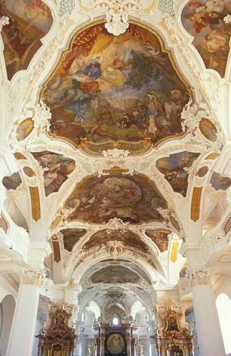 Ceiling painting in the church of the Beuron Monastery, Donautal Valley, Swabian Alb, Baden_Wuerttemberg, Germany, Europe : Stock Photo