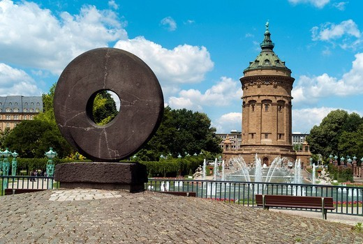 Stock Photo: 1848-63285 DAS RAD, The Wheel, 1960, by Morice Lipsi, water tower at back, landmark of the city, 1889, 60 m high, diameter of 19 m, used as water reservoir until 2000, Mannheim, Baden_Wuerttemberg, Germany, Europe