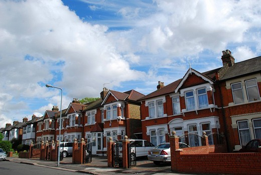 Street with typical british houses Ilford East London UK : Stock Photo