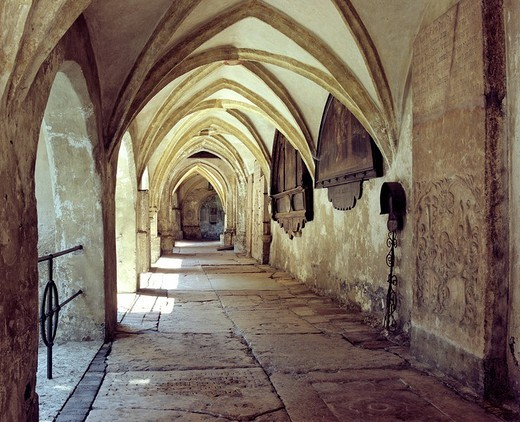 Cloister of the collegiate church, Laufen, Berchtesgadener Land, Upper Bavaria, Germany : Stock Photo