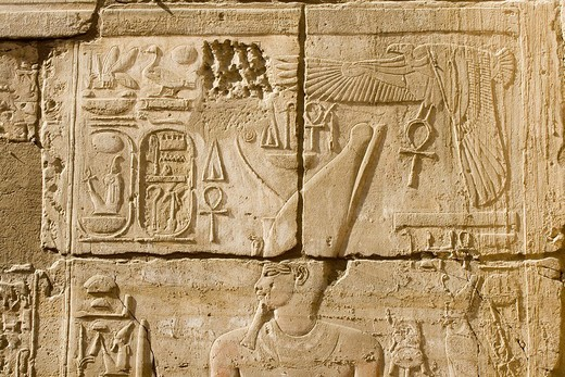 Hieroglyphs in the Luxor Temple, Luxor, Nile Valley, Egypt, Africa : Stock Photo
