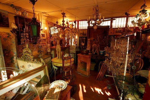 Stock Photo: 1848-63934 Antiques shop, flea market at the Piazza dei Ciompi, Florence, Tuscany, Italy