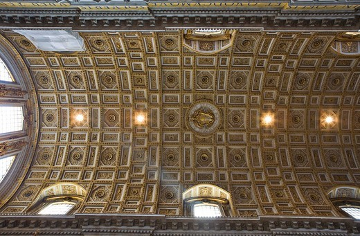 Coffered ceiling of the nave, St. Peter´s Church, Rome, Italy, Europe : Stock Photo
