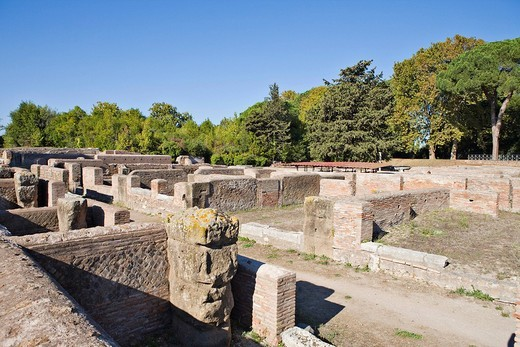 Warehouses dating to the Roman Republic, Ostia Antica archaeological site, Rome, Italy, Europe : Stock Photo