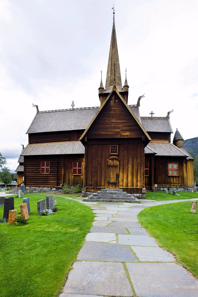 Stock Photo: 1848-646301 Lom Stave Church, Norway, Scandinavia, Europe