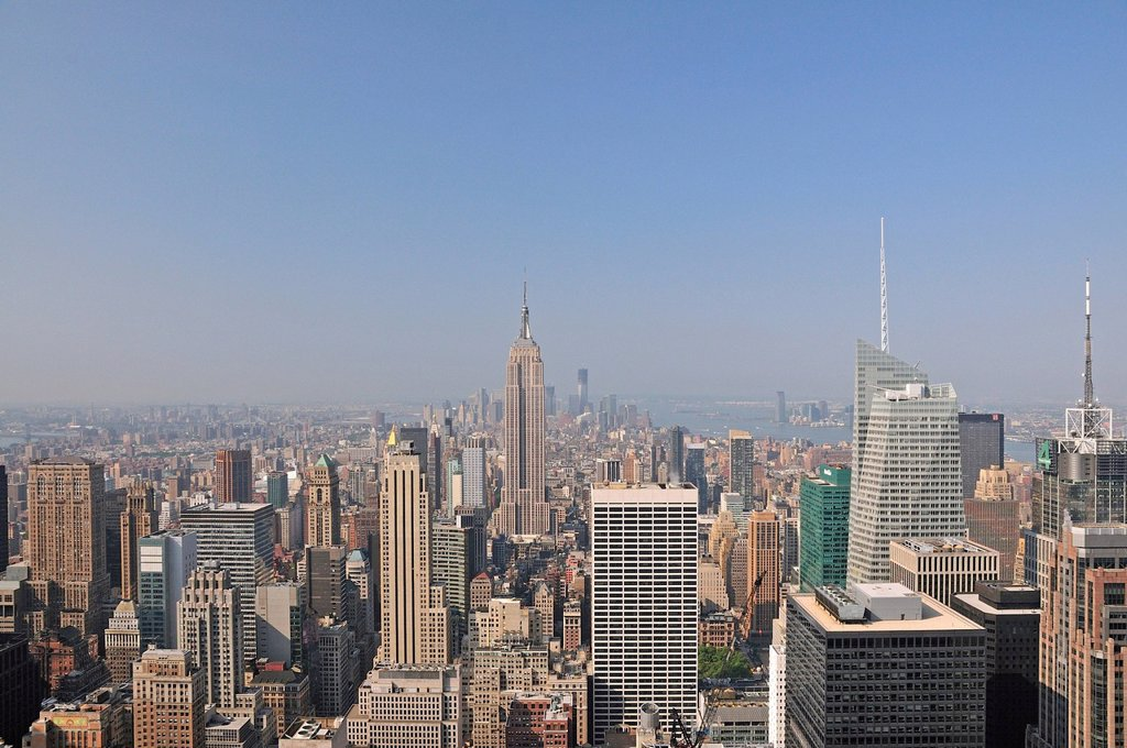 View from the observation deck Top of the Rock at the Rockefeller Center to the Empire State Building and Downtown Manhattan, New York City, USA, North America, America : Stock Photo