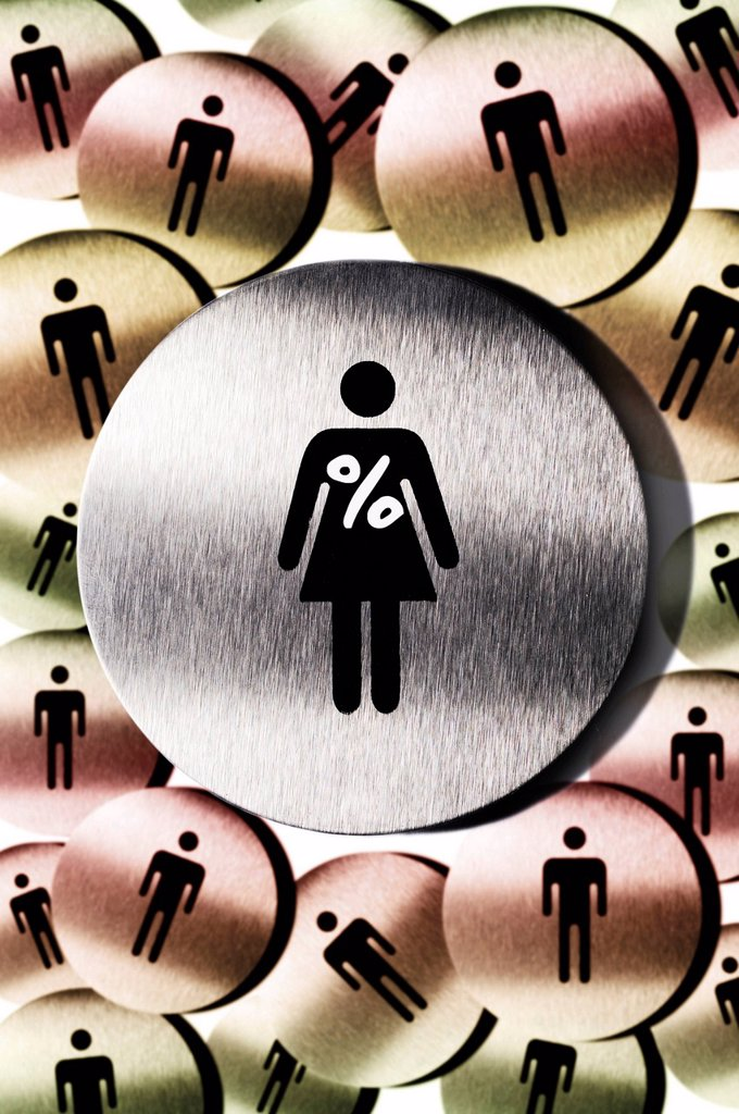 Pictograms, woman with percent sign, many men, symbolic image for woman´s quota : Stock Photo