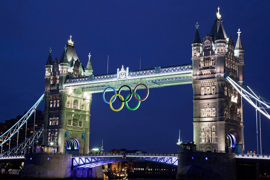Stock Photo: 1848-647056 Illuminated Tower Bridge with the Olympic Rings to mark the Olympic Games in London in 2012, London, England, United Kingdom, Europe