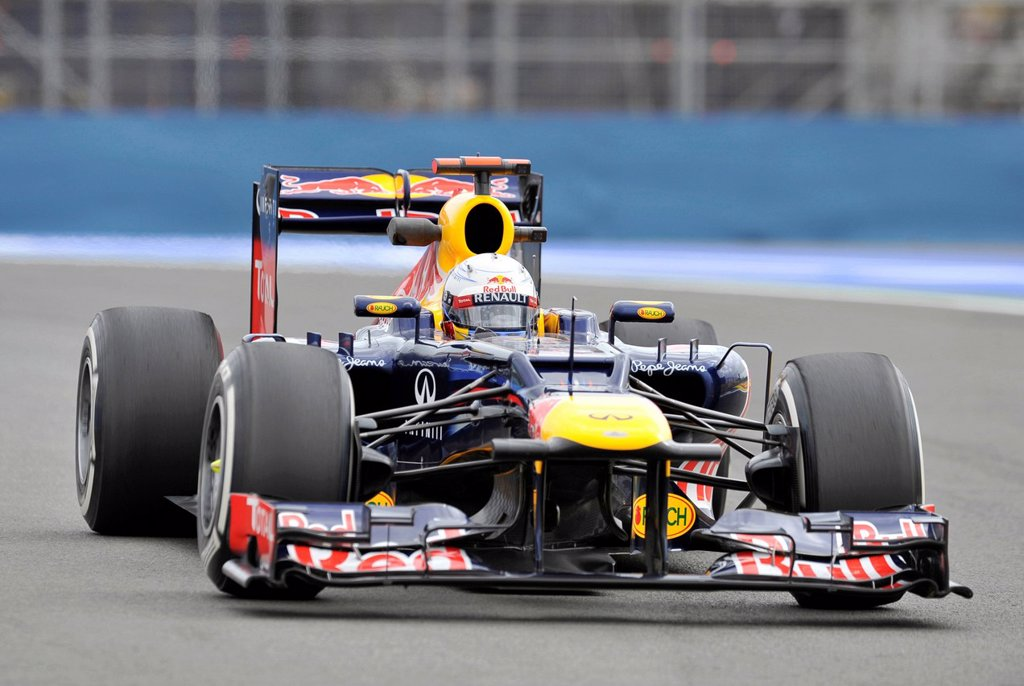 Sebastian Vettel, GER, in the Red Bull Racing car RB8 during the free practice session for the European Grand Prix on 22 June 2012 in Valencia, Spain, Europe : Stock Photo
