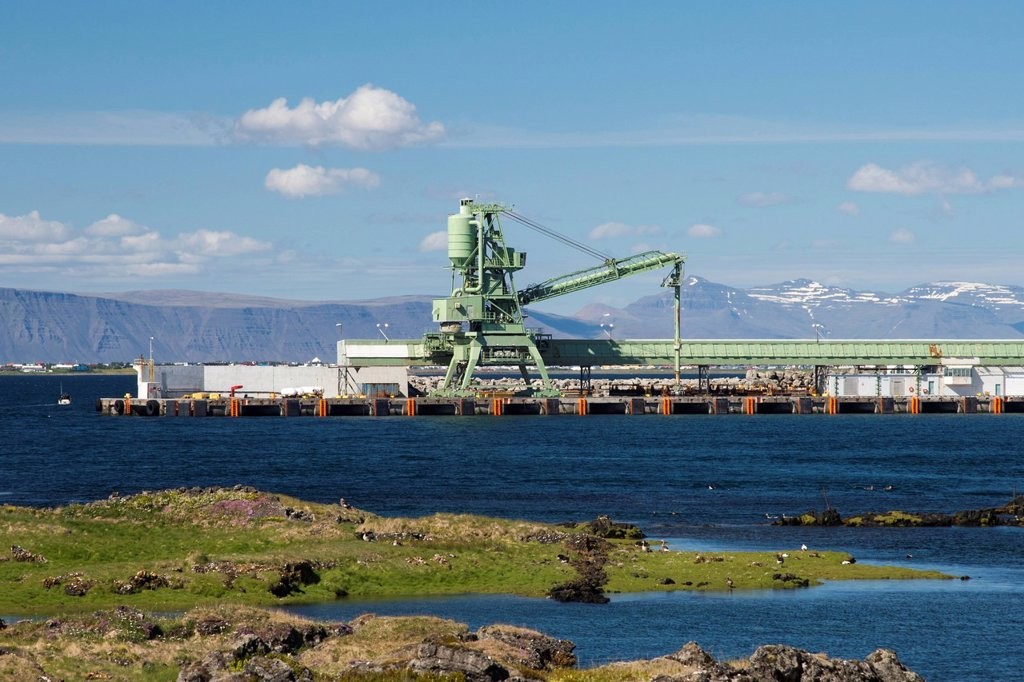 Aluminum plant, town of Straumsvík, Reykjanes peninsula, Iceland, Europe, PublicGround : Stock Photo
