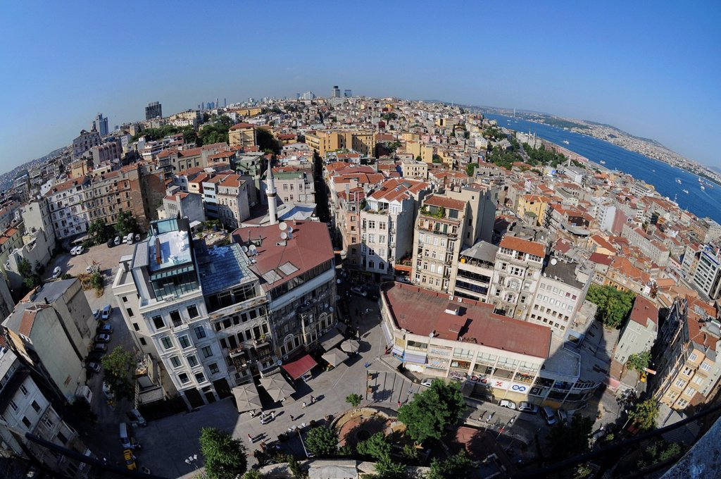 Stock Photo: 1848-647358 Fisheye view, historic town centre, Istanbul, Turkey, Europe