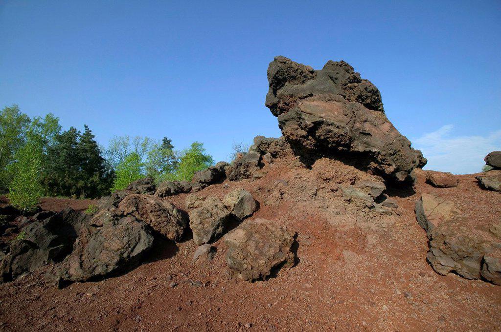 Stock Photo: 1848-647755 Volcanic rock at the foot of Puy de la Vache, Auvergne Volcanoes Natural Park, Puy de Dome, Auvergne, France, Europe