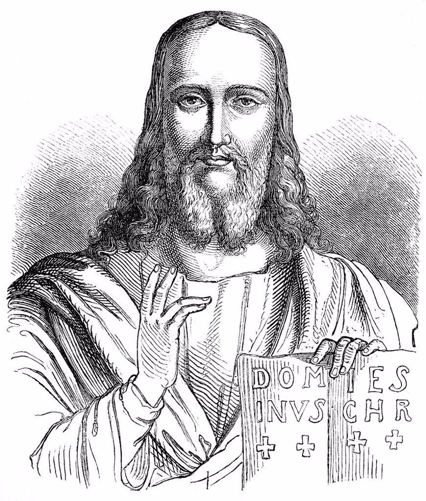 Historical drawing from the 19th century, portrait of Jesus of Nazareth or Jesus Christ : Stock Photo