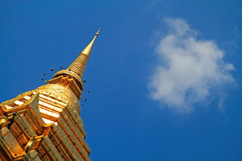 Stock Photo: 1848-648159 Top of the Chedi, Wat Chiang Man, Chiang Mai, Thailand, Asia