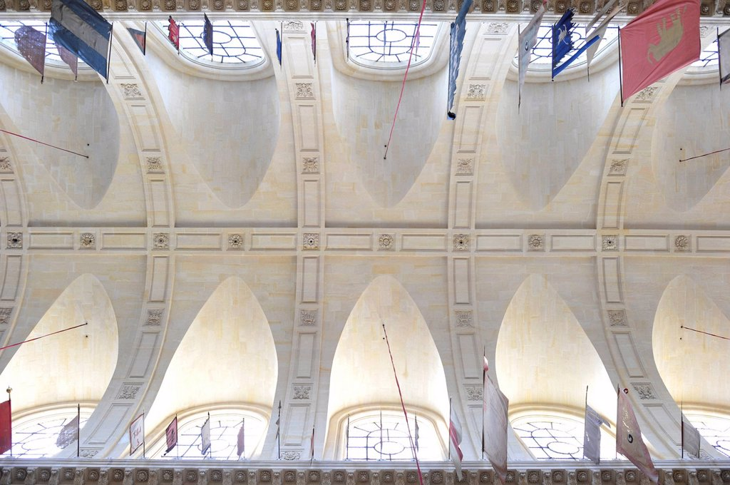 Stock Photo: 1848-648507 Interior view towards the ceiling construction, Soldier's Church or the Church of Saint Louis des Invalides, L´Hôtel national des Invalides, a hospital and retirement home for war veterans, Paris, France, Europe