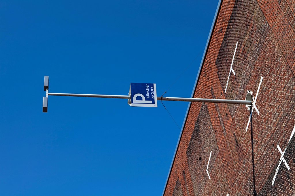 Stock Photo: 1848-648721 Vertical parking site, art work created by the osa Project, office for subversive architecture, on the wall of a factory building, Cologne Trade Fair, Cologne, North Rhine_Westphalia, Germany, Europe