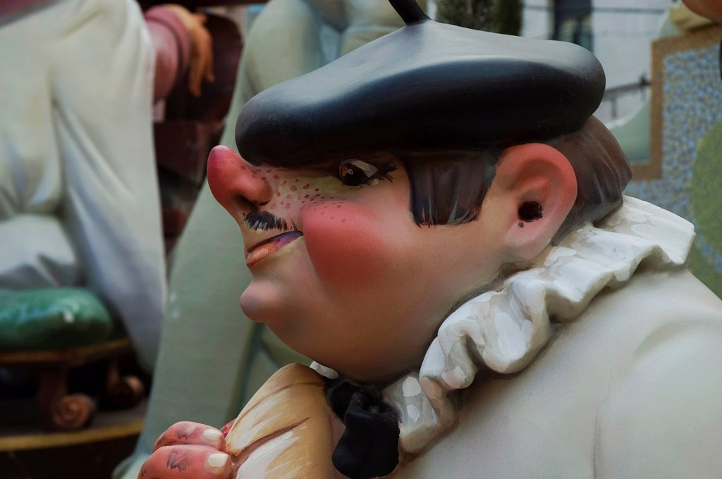 Stock Photo: 1848-648749 Basque man with a stuck_up nose wearing a beret, crude carnival characters and satirical sculptures at a parade, Fallas festival, Falles festival in Valencia in early spring, Spain, Europe