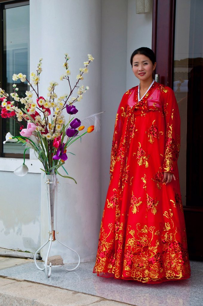 Traditionally dressed woman in the Koryo Museum, Songgyungwan, Kaesong, North Korea, Asia : Stock Photo