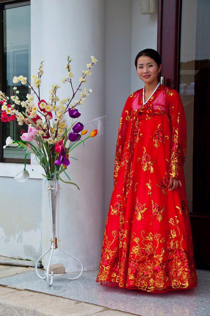 Stock Photo: 1848-648780 Traditionally dressed woman in the Koryo Museum, Songgyungwan, Kaesong, North Korea, Asia