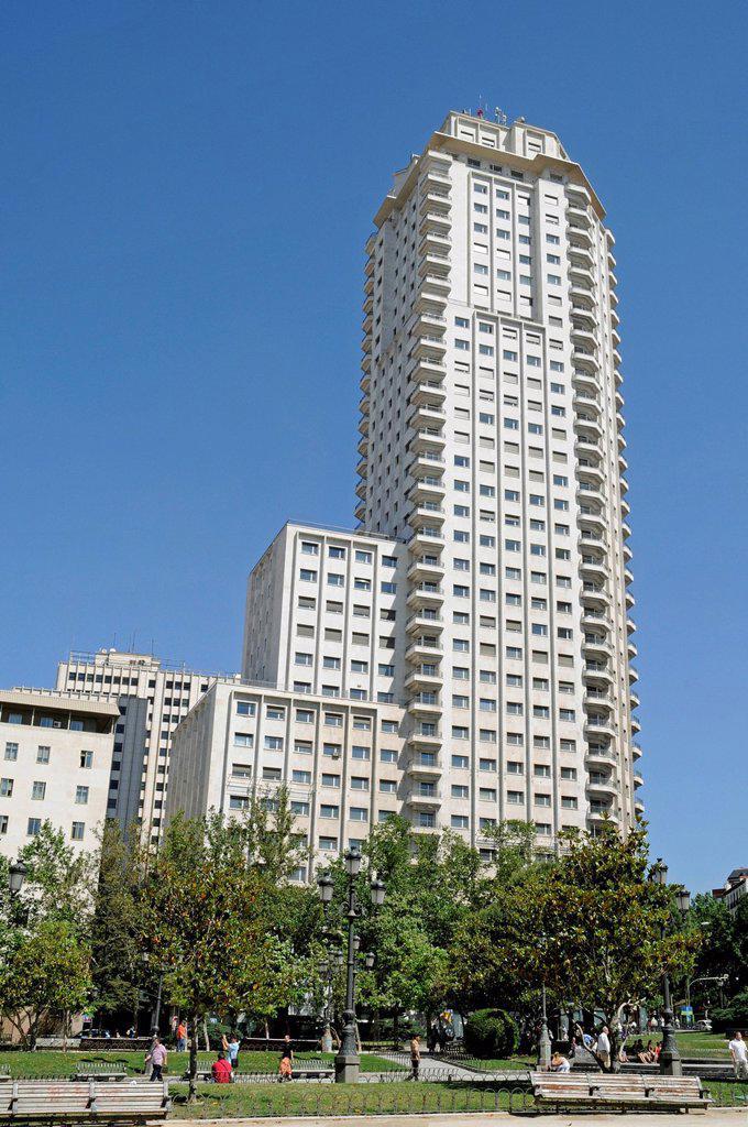Stock Photo: 1848-649218 Torre de Madrid, high_rise building, Plaza de España, Madrid, Spain, Europe, PublicGround