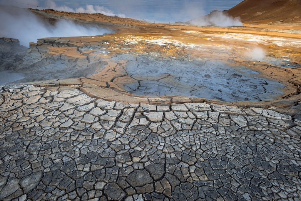 Solfataras, fumaroles, mud pools, sulfur and other minerals, steam, Hveraroend geothermal area, Námafjall mountains, Mývatn area, Norðurland eystra, the north_east region, Iceland, Europe : Stock Photo