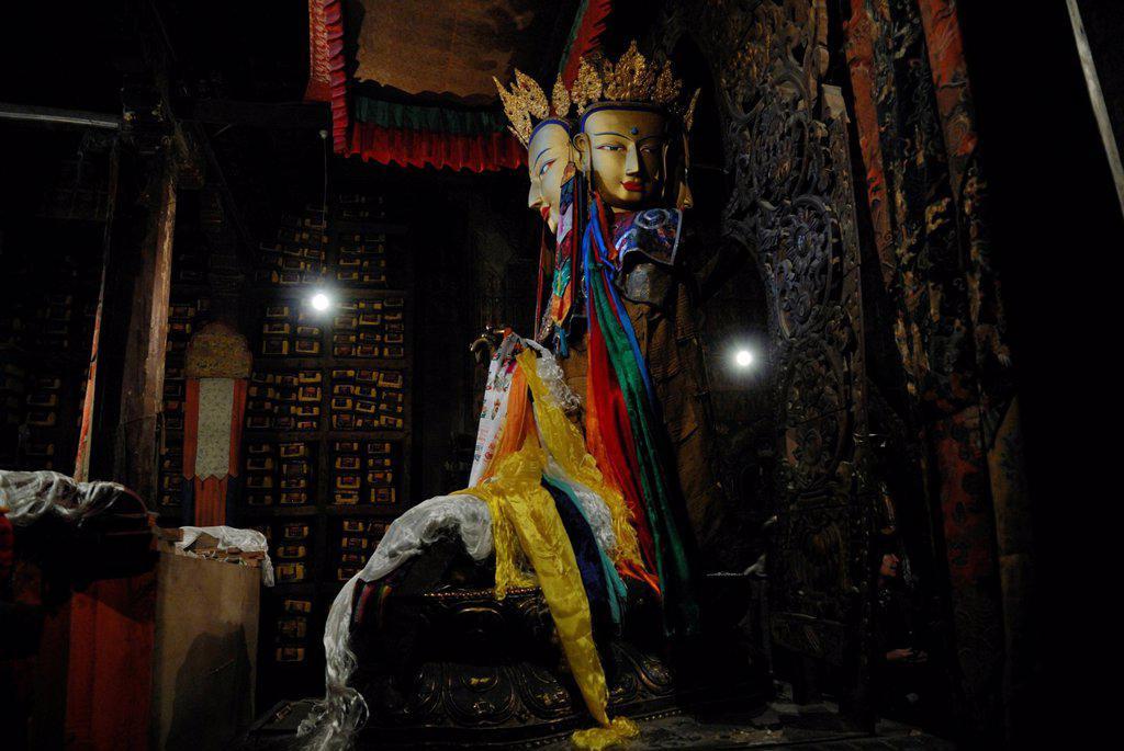 Stock Photo: 1848-649313 Buddha statue, monastery Paelkhor, Pelkhor Chode, Gyantse, Gyangze, Tibet, China, Asia