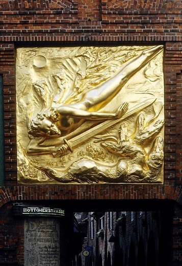 Stock Photo: 1848-64948 Entrance to the Boettcherstrasse street, golden relief Der Lichtbringer, bringer of light, by Roland Hoetger, Bremen, Germany, Europe
