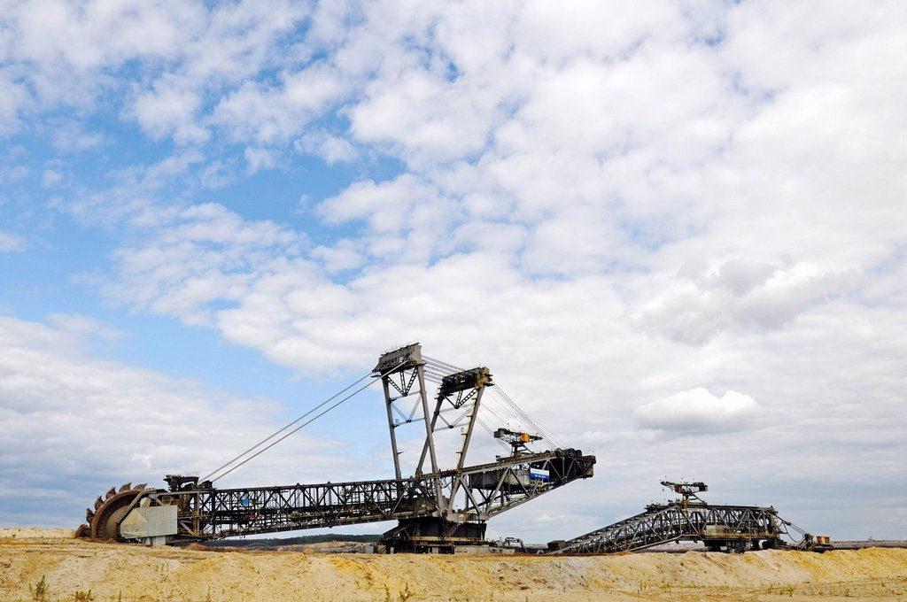 Stock Photo: 1848-649666 Bucket_wheel excavator in the open pit Welzow_Sued, mining of brown coal by the Vattenfall energy company, Lower Lusatia, Lusatia, Brandenburg, Germany, Europe