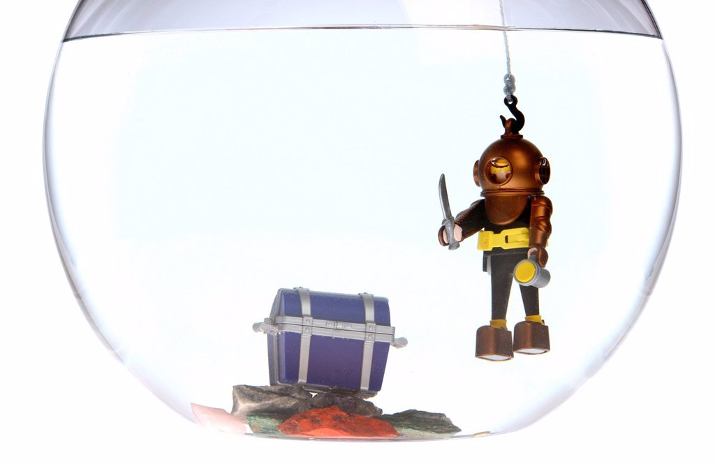 Stock Photo: 1848-649857 Toy deep sea diver with a treasure chest in a fish bowl, illustration