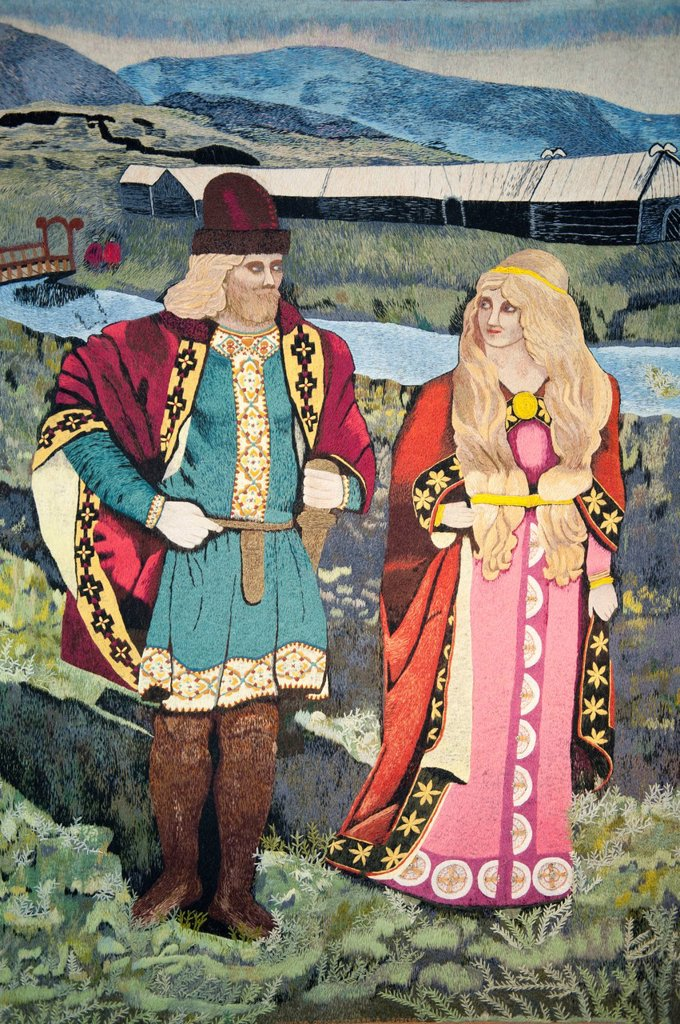 Stock Photo: 1848-649862 Icelandic couple from the old days of the sagas in typical dress, picture in a tapestry, Skógar open_air museum, Iceland, Scandinavia, Northern Europe, Europe
