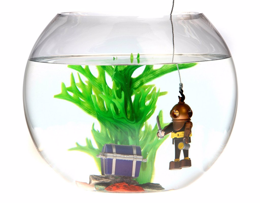 Stock Photo: 1848-650091 Toy deep sea diver with a treasure chest in a fish bowl, illustration