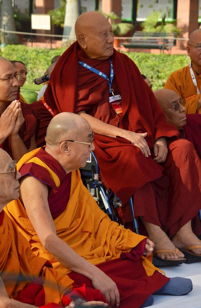 Stock Photo: 1848-650327 The Dalai Llama and other high Buddhist dignitaries from Burma, Laos, Cambodia meet for common prayer, Global Buddhist Congregation, 2011, at Gandhi Smitri, New Delhi, India, Asia