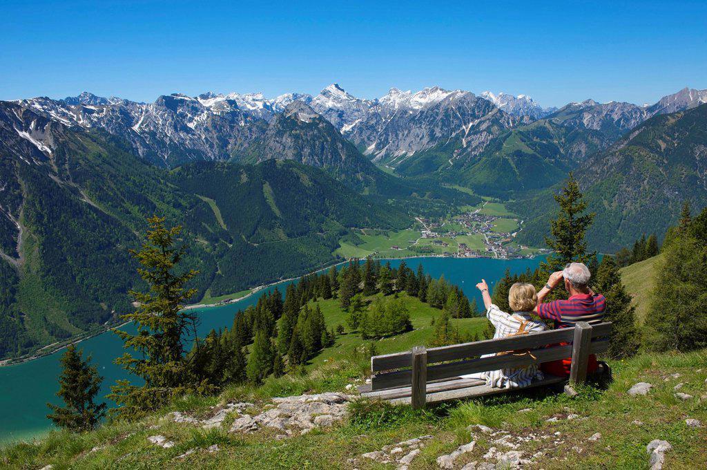 Durrakreuz viewpoint, couple enjoying the view of Lake Achensee, Tyrol, Austria, Europe : Stock Photo