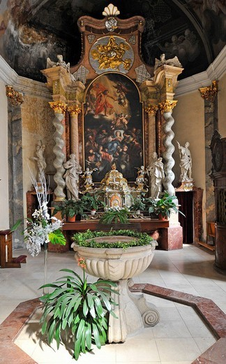 Baptismal font, side altar of St. Nicholas Cathedral, Ceske Budejovice, also Bohemian Budweis, Budvar, Bohemia, Czech Republic, Europe : Stock Photo