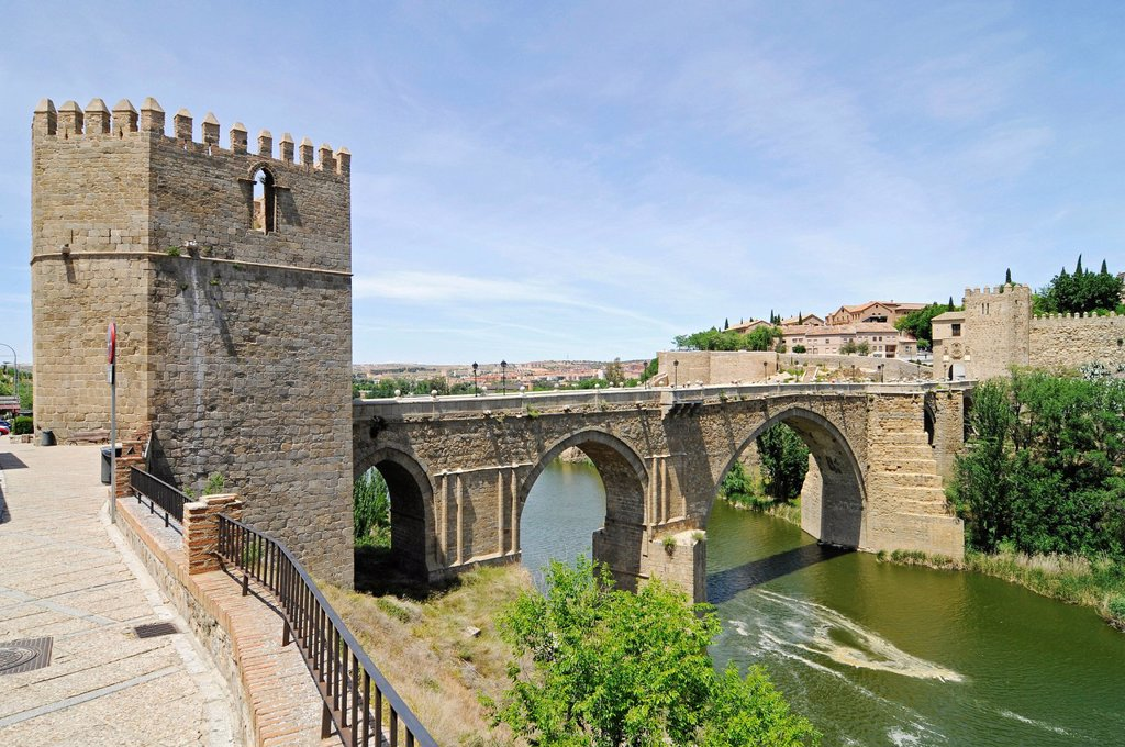 Puente de San Martin, bridge over the Tagus river, Rio Tajo, Toledo, Castile–La Mancha, Spain, Europe, PublicGround : Stock Photo