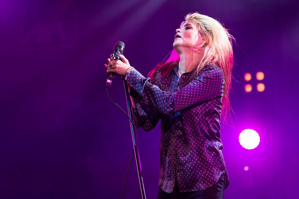Stock Photo: 1848-650625 Singer Alison Mosshart of the Anglo_American rock band The Kills performing live at Luzernersaal of the KKL during the Blue Balls Festival, Lucerne, Switzerland, Europe