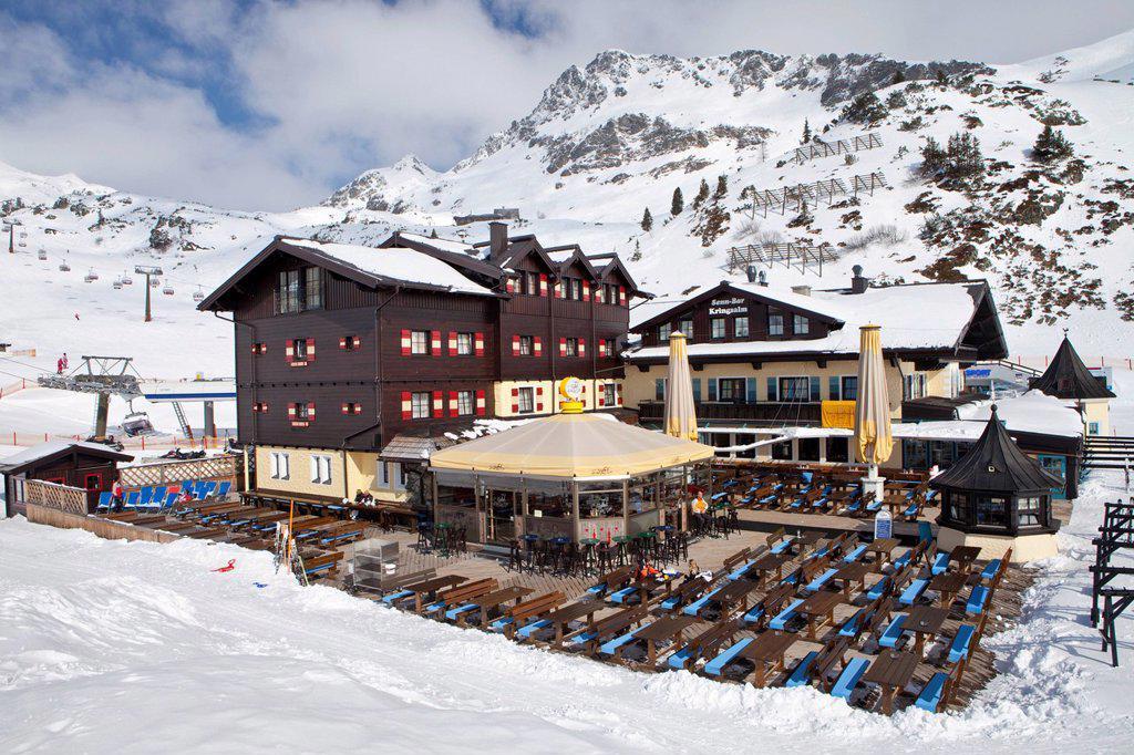 Stock Photo: 1848-650685 Kringsalm, restaurant and chair lift station, Obertauern, Radstaedter Tauern mountain range, Austria, Europe