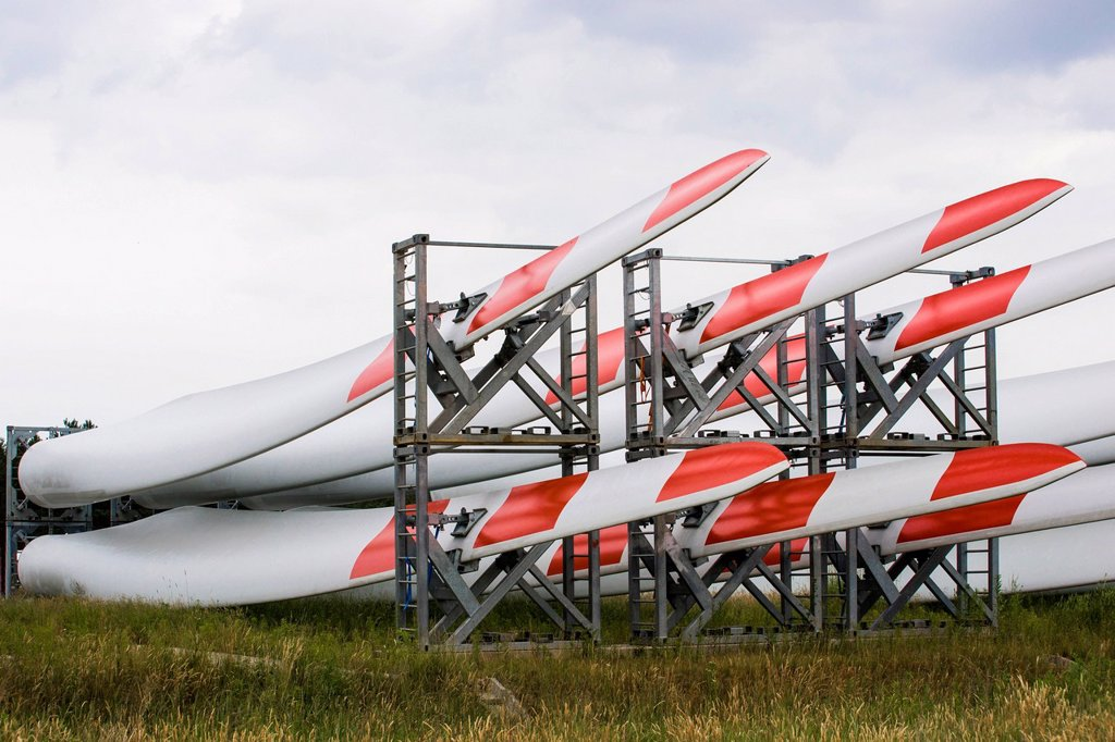 Stock Photo: 1848-650820 Blade Yard, storage for rotor blades of wind turbines, of the Danish company LM Wind Power Blades, Goleniów Industrial Park, Poland, Europe