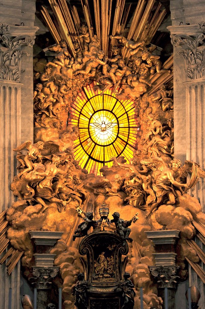 Stock Photo: 1848-650890 Gloria with a window made of Bohemian glass above the Cathedra Petri, Chair of Saint Peter by Bernini in the apse of St. Peter´s Basilica, Vatican City, Rome, Lazio region, Italy, Europe