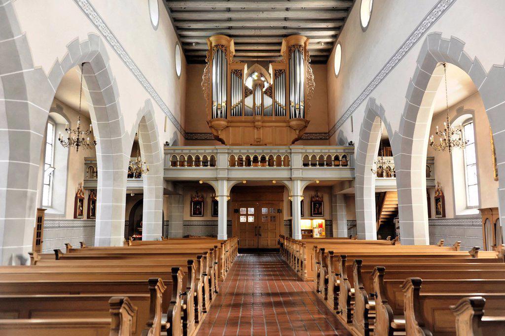 Interior view, organ, parish church of St. Martin, Staufen im Breisgau, southern Black Forest, Baden_Wuerttemberg, Germany, Europe : Stock Photo