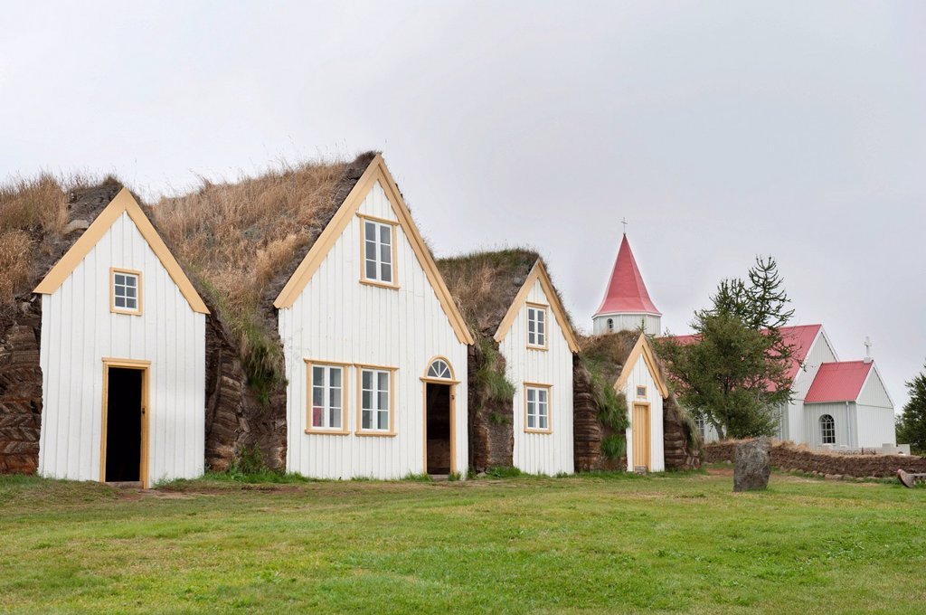 Stock Photo: 1848-651449 Open_air museum with church, sod houses, turf and sod constructions, Skagfjordur Heritage Museum, Glaumbær, Glaumbaer, Iceland, Scandinavia, Northern Europe, Europe