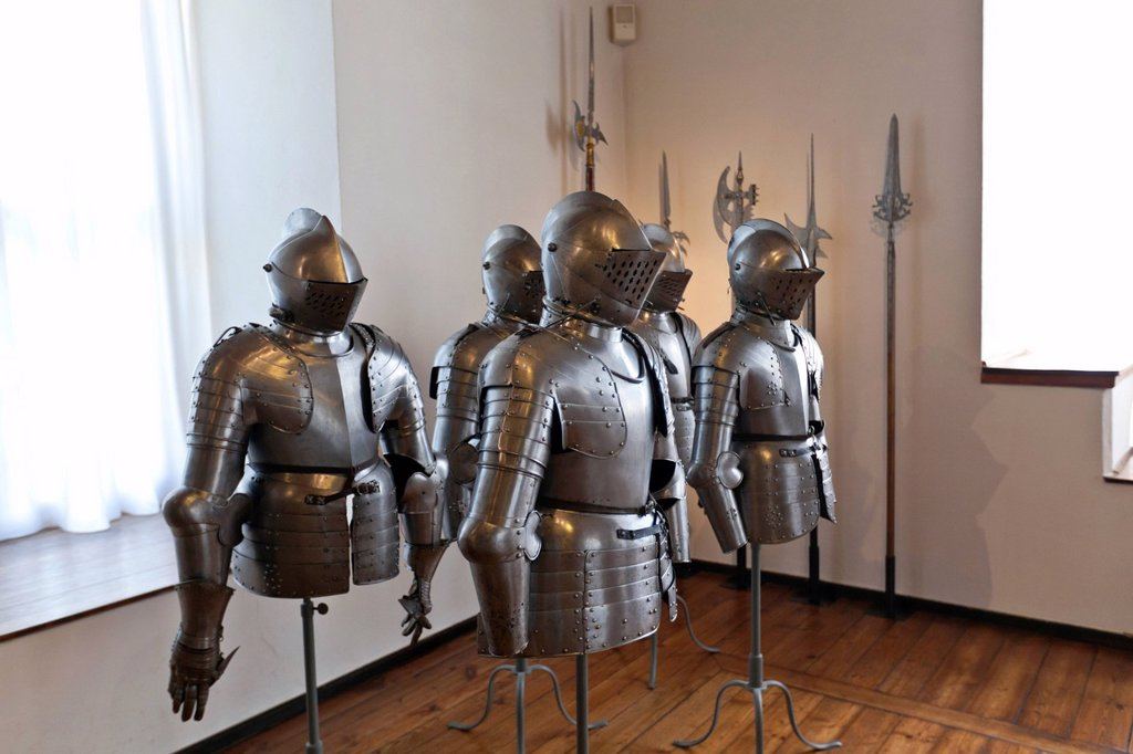Knights´ armours, weapons and art museum in the Veste Coburg castle, Coburg, Upper Franconia, Franconia, Bavaria, Germany, Europe : Stock Photo
