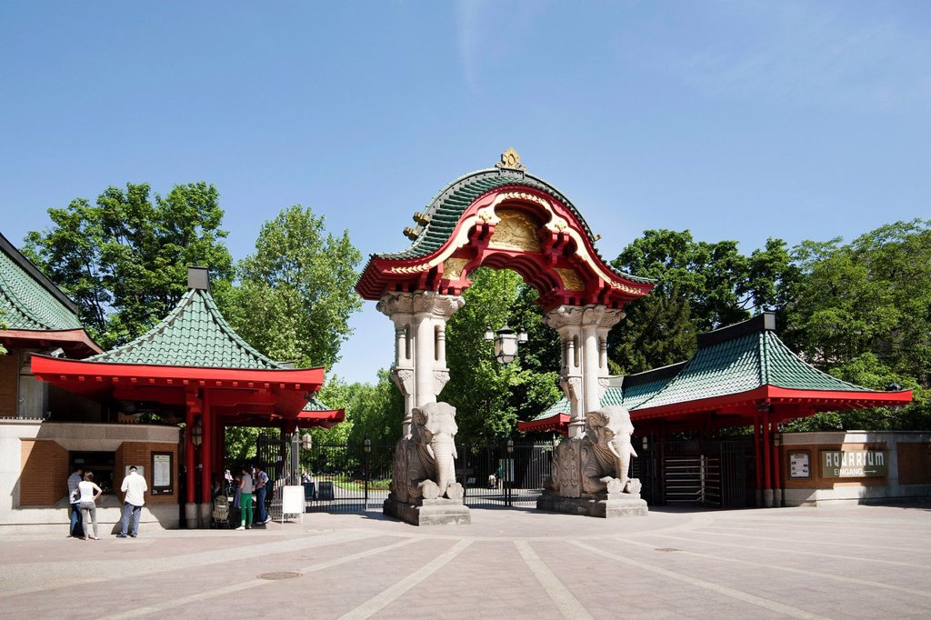 Elephant gate, Zoo, Charlottenburg quarter, Berlin, Germany, Europe : Stock Photo