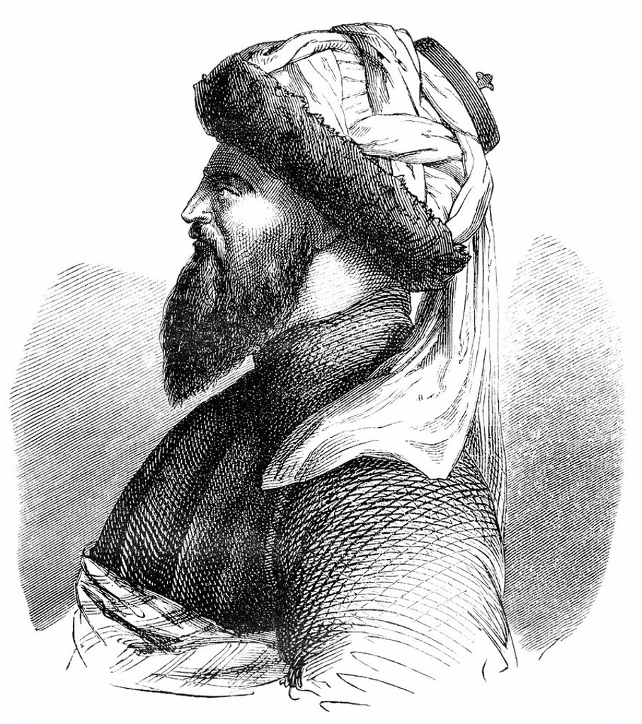 Historical drawing from the 19th century, portrait of Imam Shamil, 1797 _ 1871, a political and religious leaders of the Muslim mountain peoples in the Caucasus and Chechnya Dagestan against the Russian conquest of the North Caucasus : Stock Photo