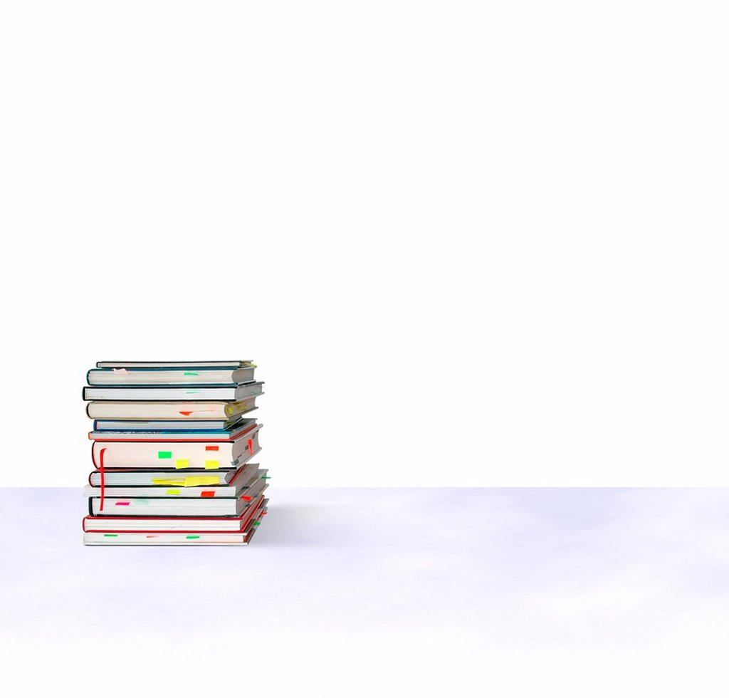 Stock Photo: 1848-651997 Stack of books with sticky notes