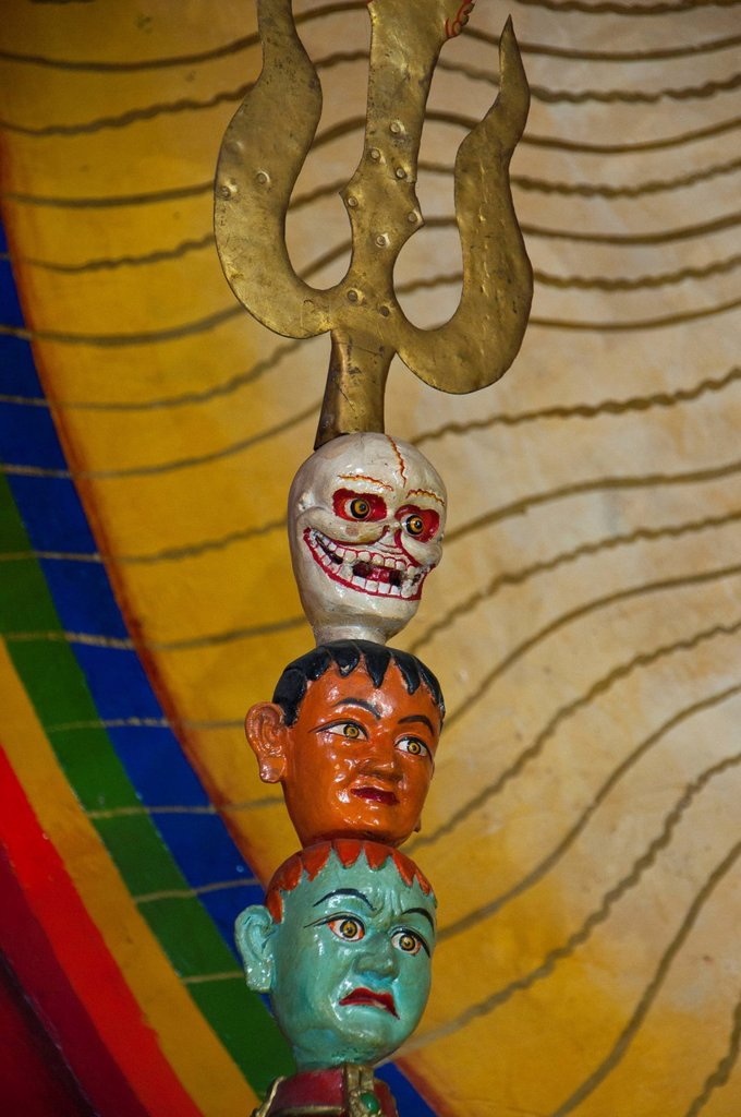 Heads on a trident in a temple, Lhasa, Tibet, Asia : Stock Photo